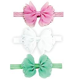 Tiny Treasures 3-Piece Chiffon Bow Headband Set in Pink/White/Turquoise
