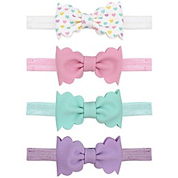Tiny Treasures 4-Piece Sculpted Bow Headband Set in Pink/Lavender/Mint