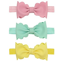 Tiny Treasures 3-Piece Scalloped Bow Headband Set in Pink/Turquoise/Yellow