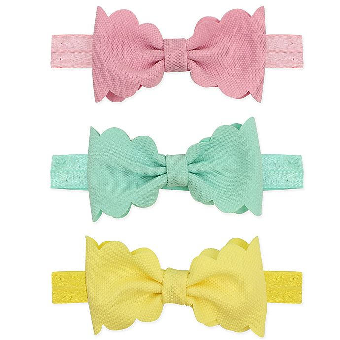 Alternate image 1 for Tiny Treasures 3-Piece Scalloped Bow Headband Set in Pink/Turquoise/Yellow