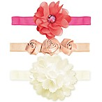 Tiny Treasures 3-Piece Floral Headband Set in Pink/Ivory