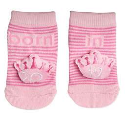 Planet Kids Size 0-6M Crown Infant Rattle Socks in Pink