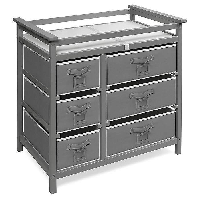 Alternate image 1 for Badger Basket Modern Baby Changing Table with 6 Baskets