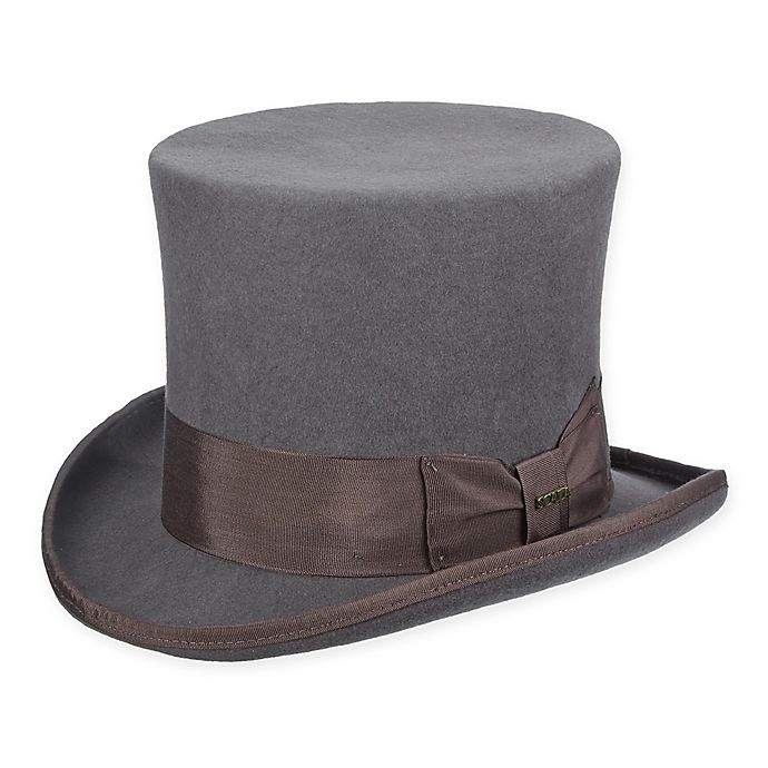 Alternate image 1 for Scala™  Large Classic Wool Felt Top Hat in Grey