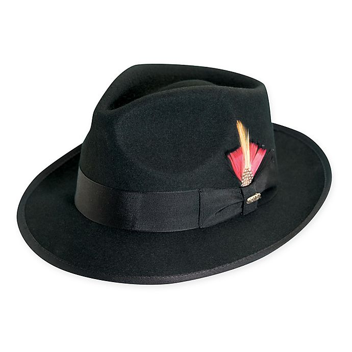 Alternate image 1 for Scala Large Wool Felt Fedora with Feather in Black