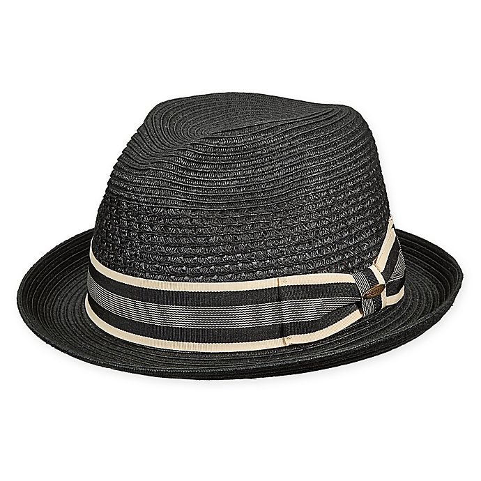 Alternate image 1 for Scala™ Small Braided Vent Crown Fedora in Black