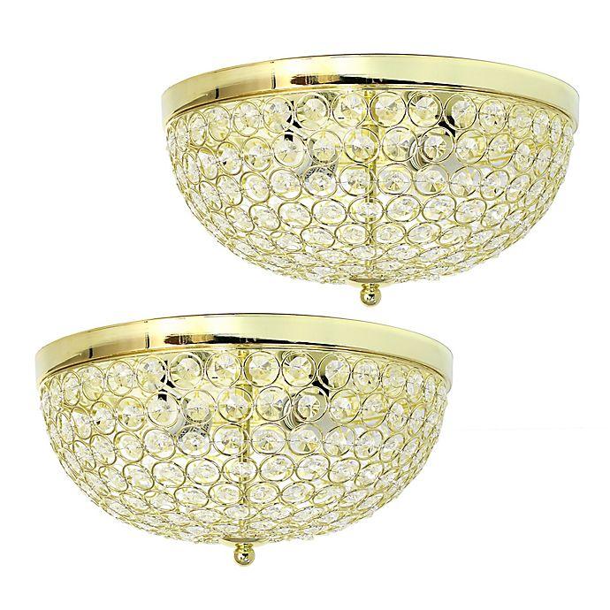 Alternate image 1 for Elegant Designs Elipse Crystal 2-Light Flush Mount Ceiling Lights in Gold (Set of 2)