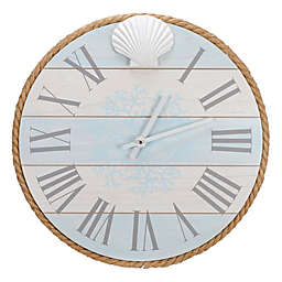 Malden® Coastal Shell 14-Inch Wall Clock in Turquoise/White