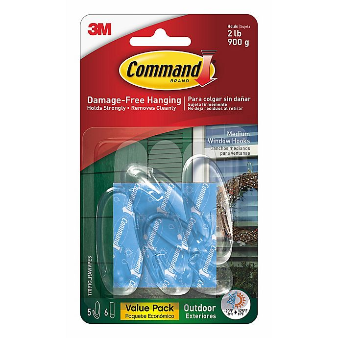 Alternate image 1 for 3M Command™ Clear Medium Outdoor Window Hooks (Set of 5)