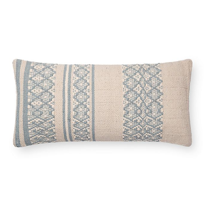 Alternate image 1 for Magnolia Home By Joanna Gaines™ Sara Oblong Throw Pillow in Light Blue/Beige