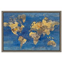 Amanti Art Golden World Map 23.25-Inch x 16-Inch Framed Canvas Wall Art