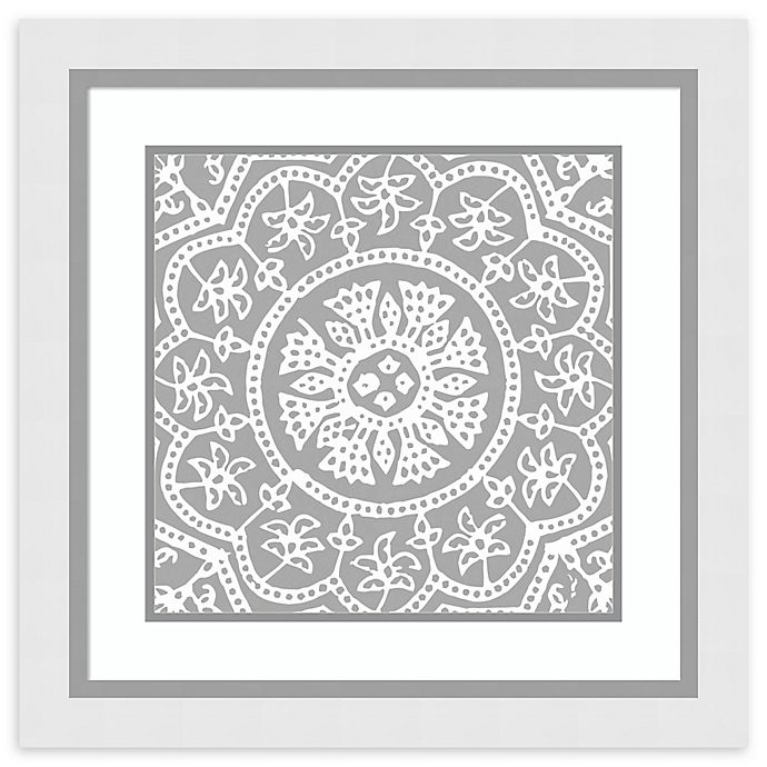Alternate image 1 for Amanti Art® Woodblock Pattern I 25-Inch Square Framed Wall Art in White