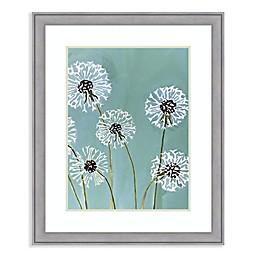 Amanti Art® Dandelions on Aqua 28.38-Inch x 34.38-Inch Framed Wall Art in Grey