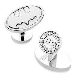 DC Comics Silvertone Oval Batman Logo Cufflinks