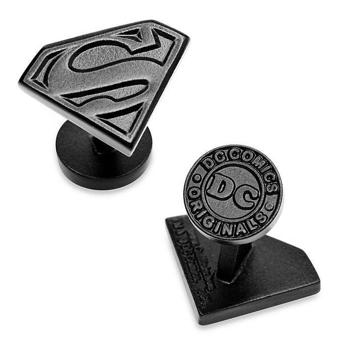 Alternate image 1 for DC Comics Black Enamel Superman Shield Cufflinks