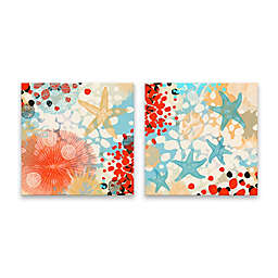 Exotic Sea Life 18-Inch Square Canvas Wall Art (Set of 2)