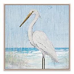 Heron on Blue Wood IV 21-Inch Framed Canvas Wall Art