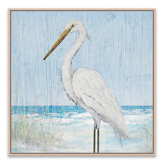 Alternate image 1 for Heron on Blue Wood IV 21-Inch Framed Canvas Wall Art