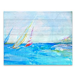 Coastal Sailboats 28-Inch x 22-Inch Wrapped Canvas Wall Art