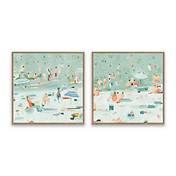 Summer Confetti 19.13-Inch Square Framed Canvas Wall Art (Set of 2)