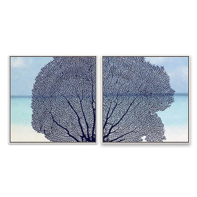 Alternate image 1 for Navy Coral 20.88-Inch Square Framed Canvas Wall Art (Set of 2)