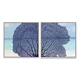 Navy Coral 20.88-Inch Square Framed Canvas Wall Art (Set of 2)