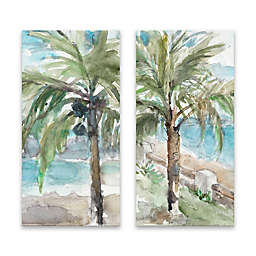 Calm Palm Trees 15-Inch x 30-Inch Canvas Wall Art (Set of 2)