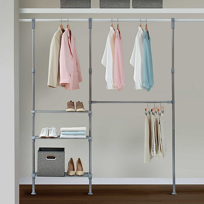 Alternate image 1 for Relaxed Living Adjustable Metal Closet System in Satin Nickel