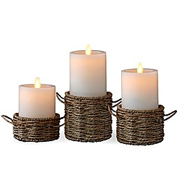 Luminara® 3-Pack Woven Wrap Real-Flame Effect Pillar Candles
