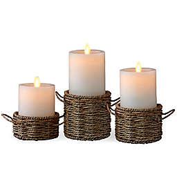 Luminara® 3-Pack Woven Wrap Real-Flame Effect Pillar Candles