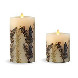 Luminara® Embedded Lavender & Thyme Real-Flame Effect Pillar Candle