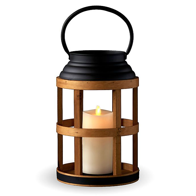 Alternate image 1 for Luminara® Octagon Lantern Real-Flame Effect Pillar Candle