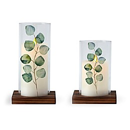 Luminara® Eucalyptus Glass Hurricane with Real-Flame Effect Pillar Candle