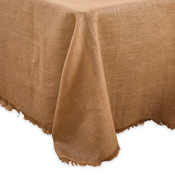 Alternate image 1 for Saro Lifestyle Mari Sati 90-Inch x 120-Inch Oblong Fringed Tablecloth in Natural