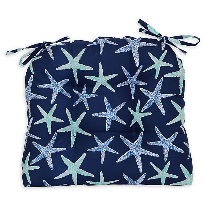 Alternate image 1 for Starfish Wicker Seat Cushions in Navy (Set of 4)