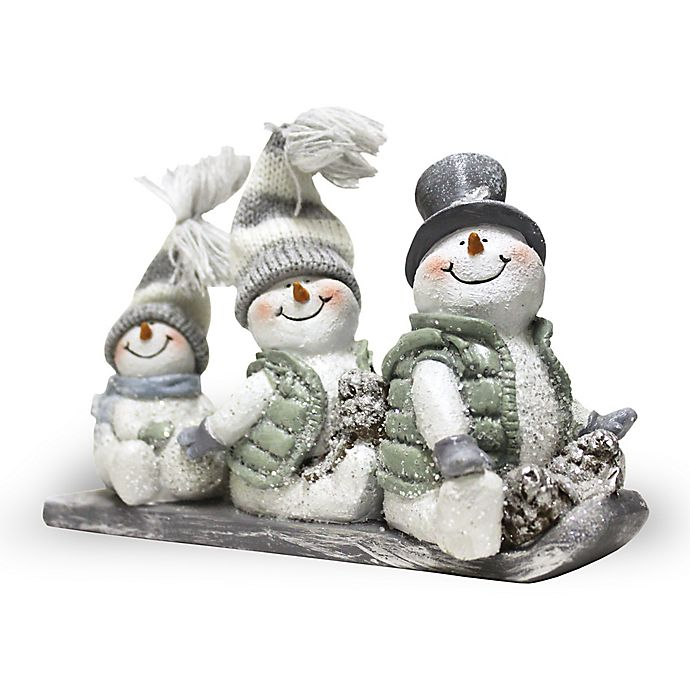 Alternate image 1 for A Cheerful Giver Toboggan Willie the Snowman Resin Figurine