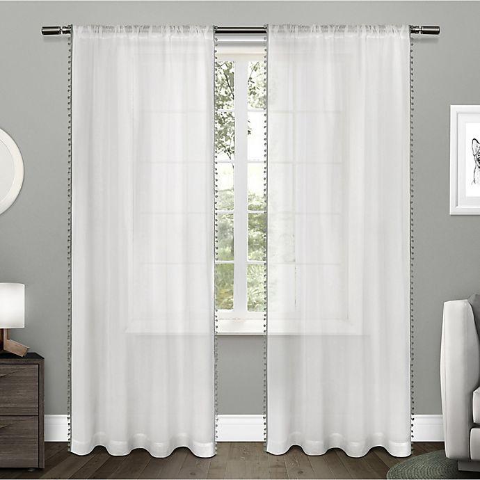 Alternate image 1 for Pom Pom 2-Pack 84-Inch Rod Pocket Window Curtain in Black Pearl
