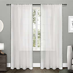 Pom Pom 2-Pack 84-Inch Rod Pocket Window Curtain in Black Pearl
