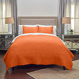 Rizzy Home Moroccan Fling Floral Twin XL Quilt in Orange