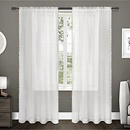 Pom Pom Rod Pocket Window Curtain Panel Pair
