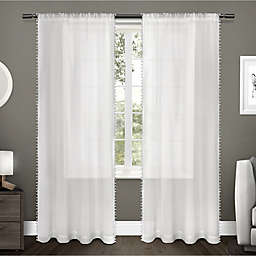 Pom Pom 2-Pack 84-Inch Rod Pocket Window Curtain in Winter White