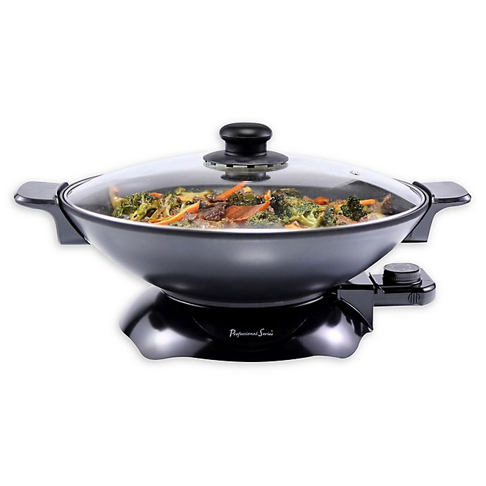 Alternate image 1 for Professional Series® 13.5-Inch Electric Nonstick Chef Wok Pan in Black