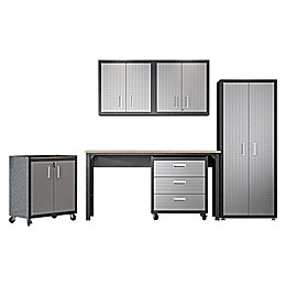 Manhattan Comfort Fortress 6-Piece Textured Cabinets, Wall Units and Table Garage Set in Grey
