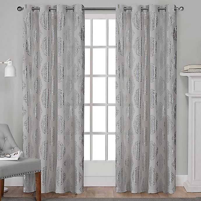 Alternate image 1 for Augustus 84-Inch Grommet Window Curtain Panel Pair in Silver
