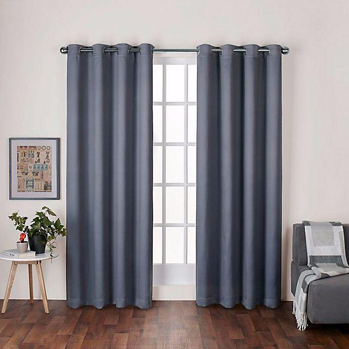 Alternate image 1 for Heath 108-Inch Grommet Top Room Darkening Window Curtain Panel Pair in Black Pearl