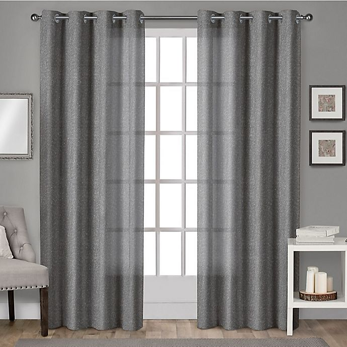 Alternate image 1 for Sparkles 96-Inch Grommet Top Window Curtain Panel Pair in Black Pearl