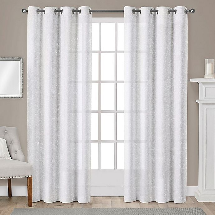 Alternate image 1 for Sparkles 96-Inch Grommet Top Window Curtain Panel Pair in Winter White