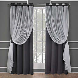 Catarina 2-Pack 96-Inch Grommet Room Darkening Window Curtain in Black Pearl