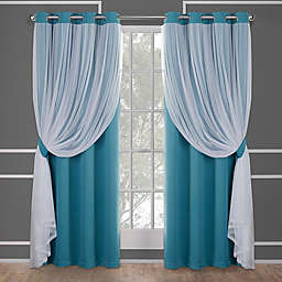 Catarina 2-Pack 63-Inch Grommet Room Darkening Window Curtain in Turquoise