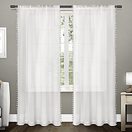 Tassels Rod Pocket Window Curtain Panel Pair